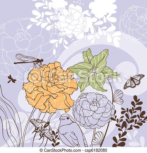 花, 美しい, カード - csp6182080