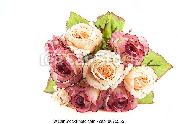 花, 背景, 白 - csp19675555