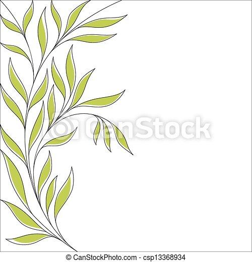 花, 葉, 緑の背景 - csp13368934