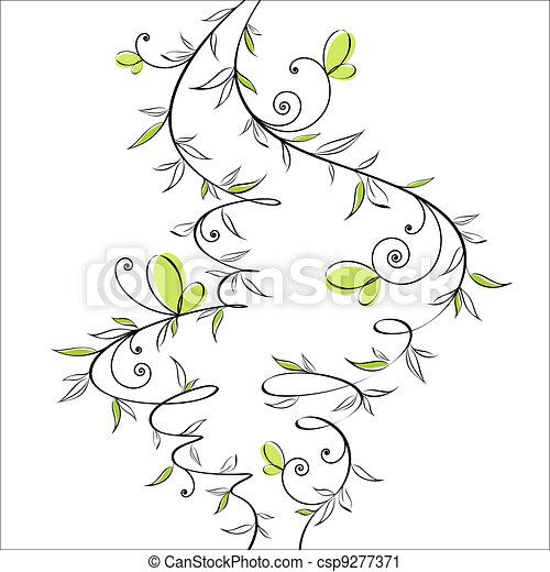 花, 蝶, デザイン, ロマンチック - csp9277371