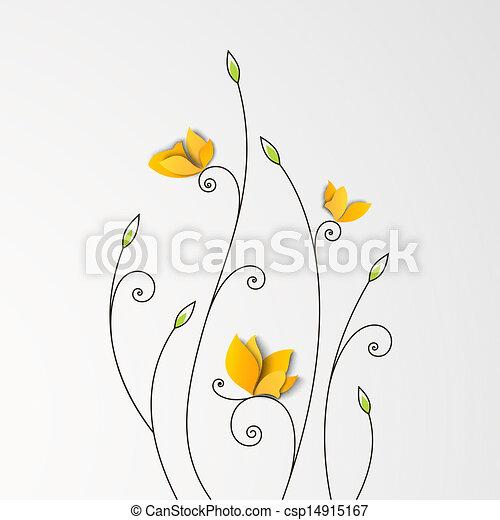 花, 蝶, ペーパー, 背景 - csp14915167