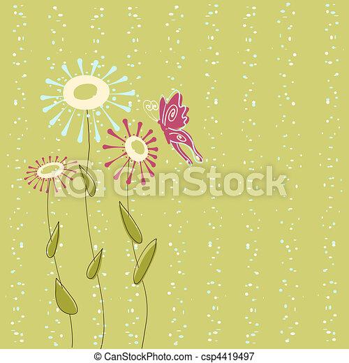 花, 蝶, 背景 - csp4419497