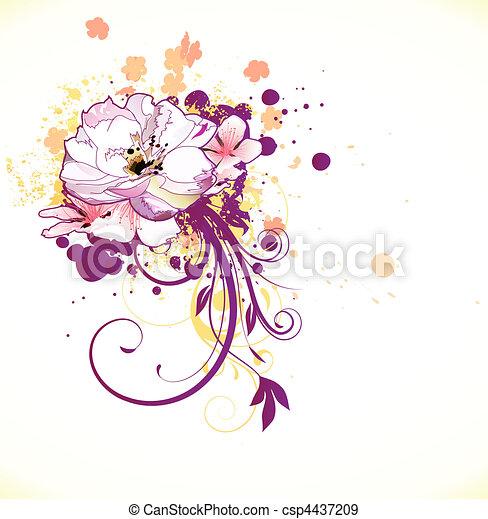 花, 装飾用である, 背景 - csp4437209