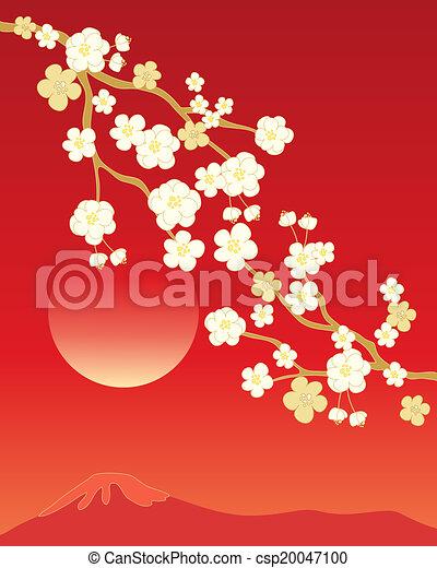 花, 陶磁器, 背景 - csp20047100