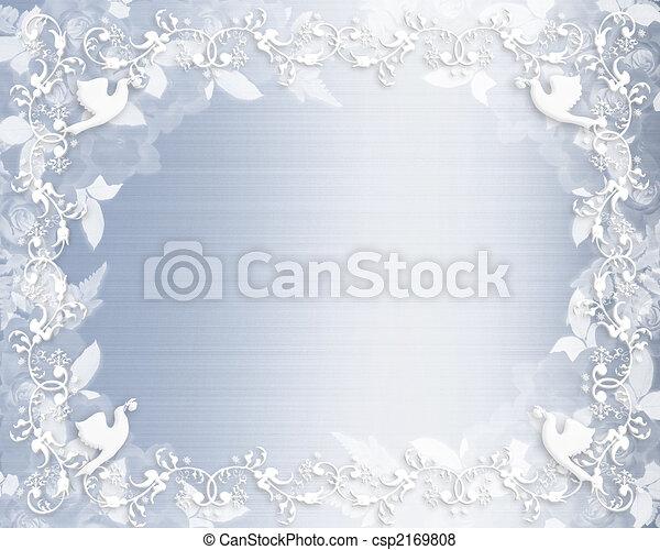 花, 青, 結婚式, ボーダー, 招待 - csp2169808