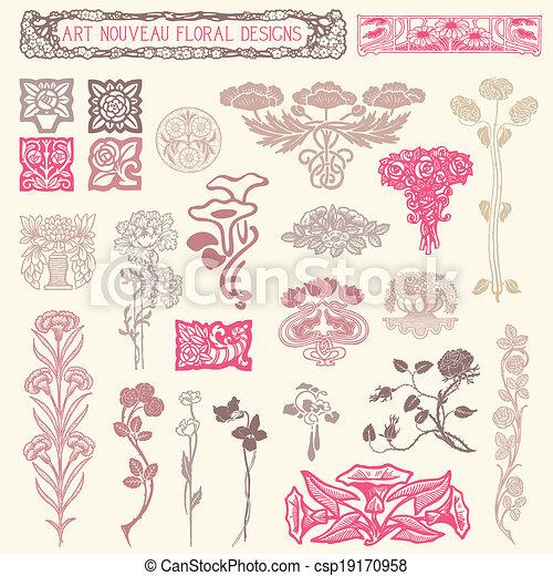 花, ornaments., セット, 型 - csp19170958