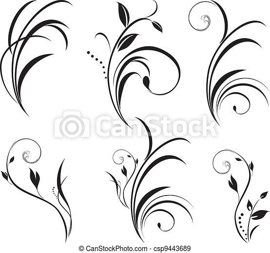 花, sprigs., 装飾, 要素 - csp9443689