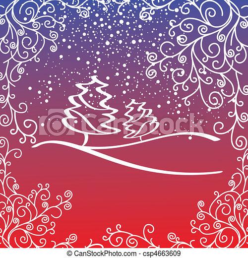 芸術的, カード, クリスマス - csp4663609