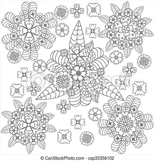 芸術, いたずら書き, whith, ベクトル, パターン, 花, 花 - csp33356102