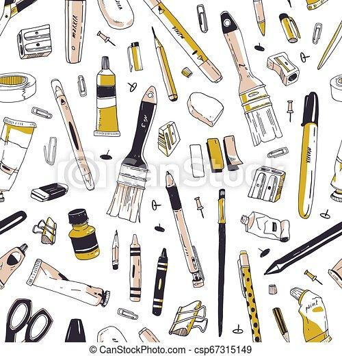 芸術, オフィス, 優雅である, 道具, 文房具, パターン, seamless, 道具, 執筆, 織物, バックグラウンド。, 供給, 白, 包むこと, イラスト, 手, 引かれる, 印刷, wallpaper., ペーパー, 現実的, ベクトル, ∥あるいは∥ - csp67315149