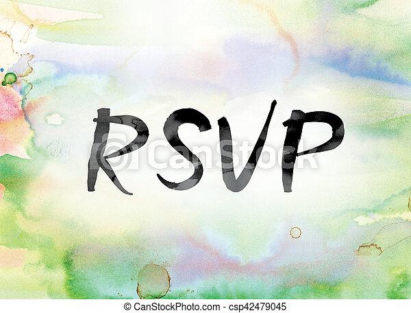 芸術, カラフルである, 水彩画, インク, 単語, rsvp - csp42479045
