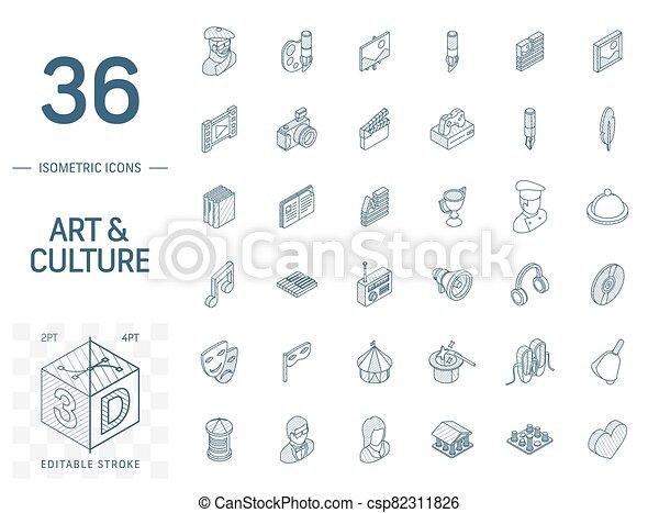 芸術, 線, 文化, 3d, 等大, icons., ベクトル - csp82311826