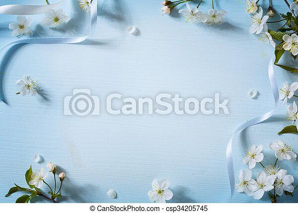 芸術, 花, 春, 背景, 白い花 - csp34205745