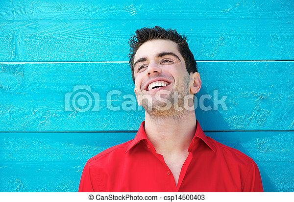 若い, 屋外で, 肖像画, 微笑, ハンサム, 人 - csp14500403