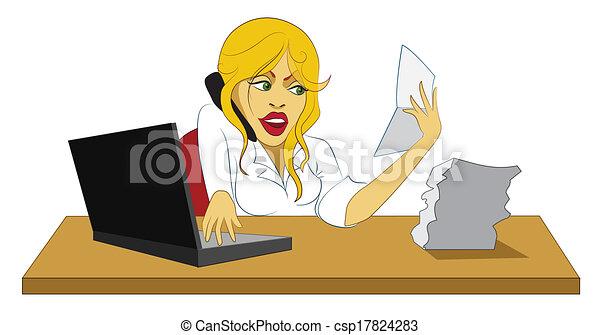 若い, 忙しい, 女, オフィス, セクシー - csp17824283