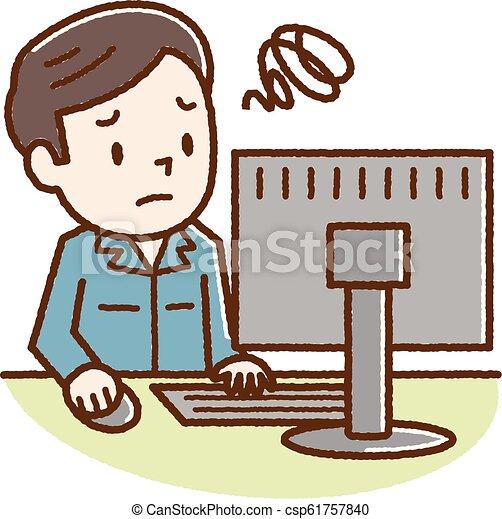 若者, コンピュータ, 悩まされている, 個人的, 見なさい - csp61757840