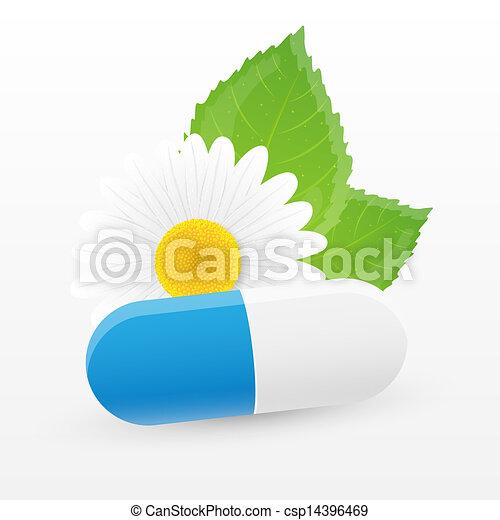 草藥, pill., 矢量, illustration. - csp14396469