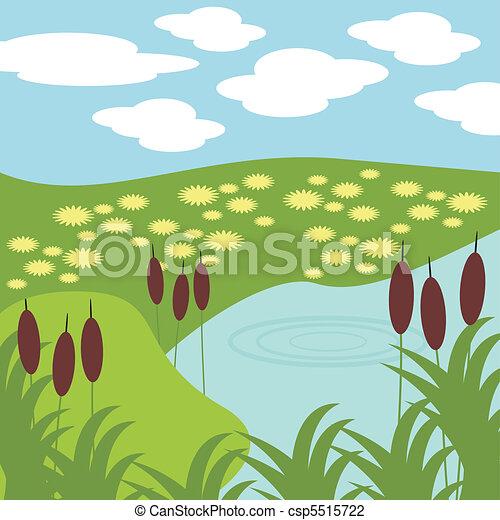 草, 湖, イラスト - csp5515722
