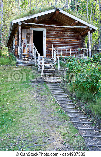 荒野, 原木小屋 - csp4937333