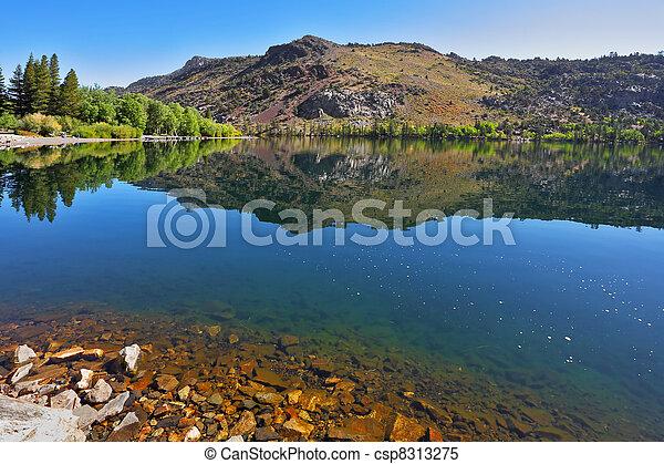 落ち着いた, tioga., 湖, 銀, 秋, 暖かい, パス, 空色, 日 - csp8313275