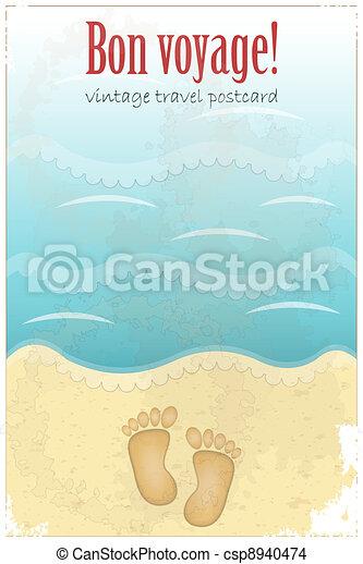 葉書, 型, 旅行, -, 砂ビーチ, 足跡 - csp8940474