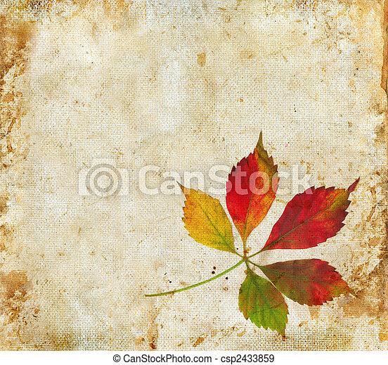 葉, グランジ, 背景, 秋 - csp2433859