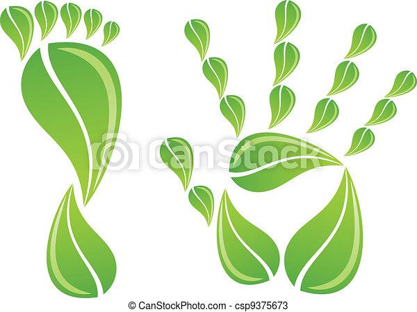 葉, フィート, 手, ベクトル - csp9375673