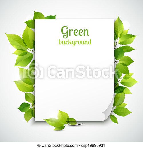 葉, フレーム, 緑, テンプレート - csp19995931