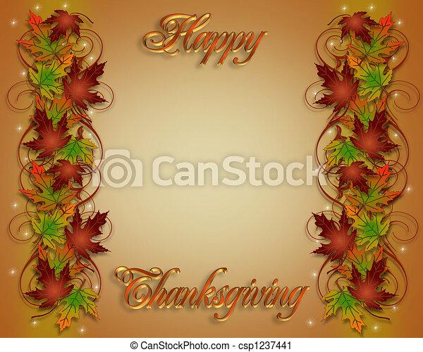葉, ボーダー, 感謝祭, 秋 - csp1237441