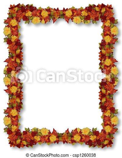 葉, ボーダー, 感謝祭, 秋 - csp1260038