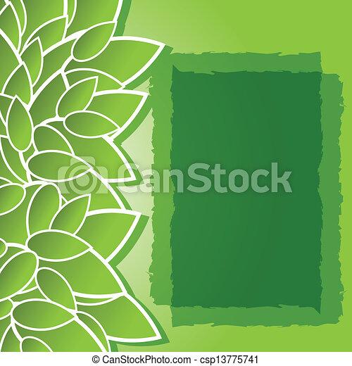 葉, 緑の背景 - csp13775741