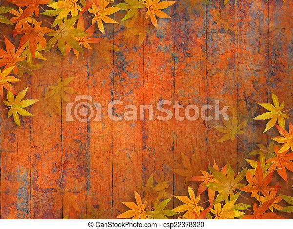 葉, 背景, 秋 - csp22378320