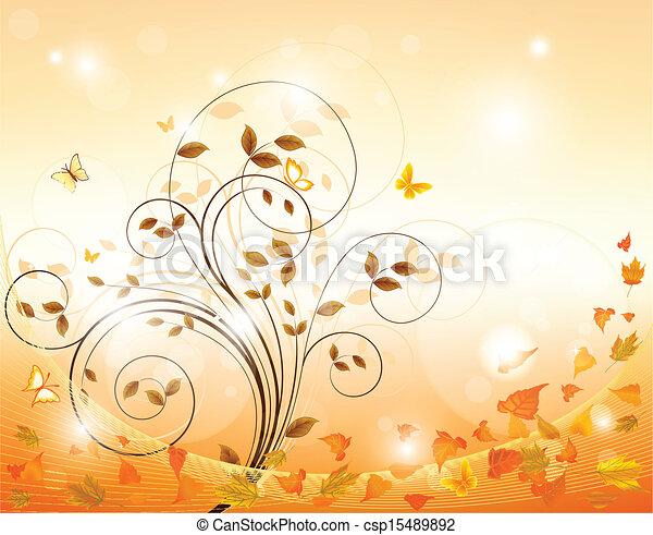 葉, 背景, 秋 - csp15489892
