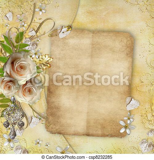 葉, 金, 紙カード, ばら, 美しい, 挨拶, 心, リボン - csp8232285