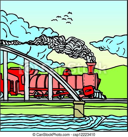 蒸気の 列車 - csp12223410