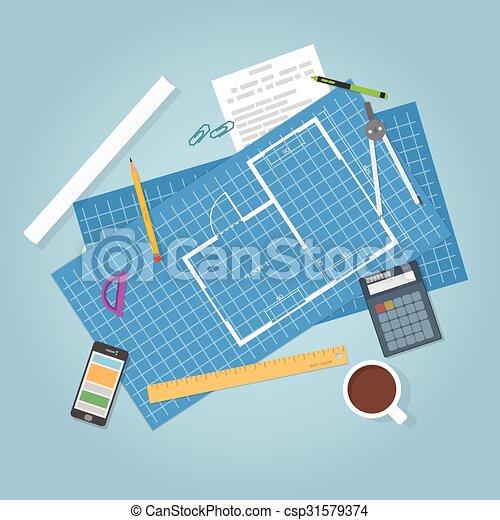 蓝图, 建筑学 - csp31579374