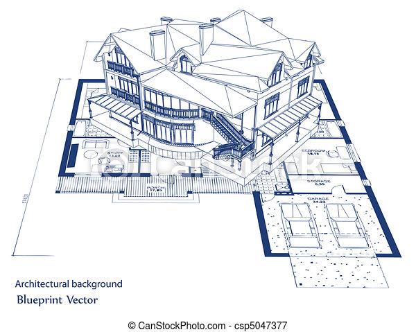 蓝图, 矢量, house., 建筑学 - csp5047377