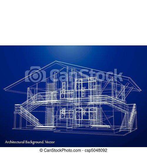 蓝图, 矢量, house., 建筑学 - csp5048092