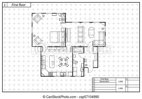 蓝图, 风格, 房子, 黑色, 建筑学, 白色, 计划 - csp57104990