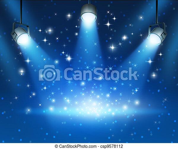 蓝色, 发光, 聚光灯, 背景 - csp9578112