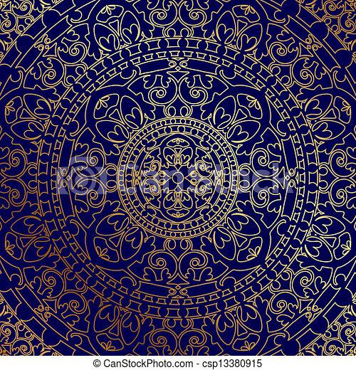 蓝色, 装饰物, 背景, 金子 - csp13380915