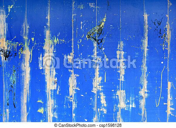 蓝色, grunge, 涂描, 摘要, creaked, 木制, 背景, 墙壁 - csp1598128