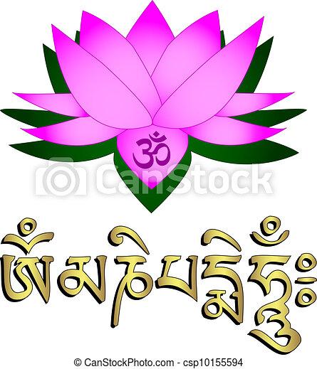 蓮花, 曼特羅禱告詞, om, 花, 符號 - csp10155594