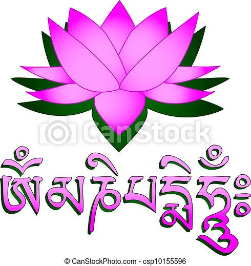 蓮花, 曼特羅禱告詞, om, 花, 符號 - csp10155596