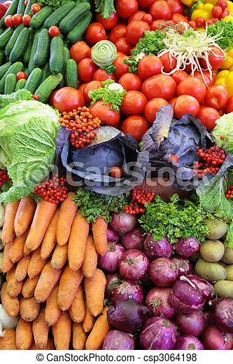 蔬菜, 新鲜, 品种, 垂直, 照片 - csp3064198