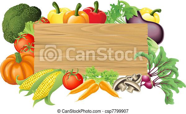 蔬菜, 木制, 插圖, 簽署 - csp7799907
