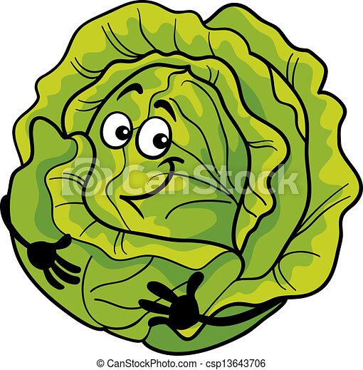 蔬菜, 漂亮, 洋白菜, 卡通漫画, 描述 - csp13643706