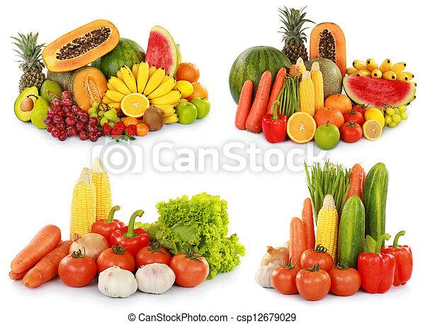 蔬菜, 被隔离, w, 水果 - csp12679029