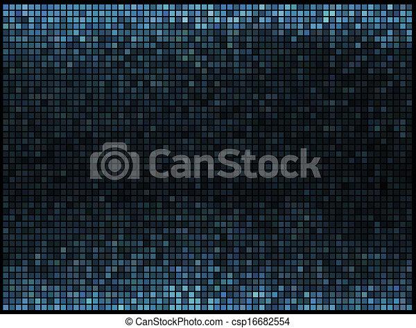 藍色正方形, 光, 摘要, 迪斯科, 背景。, multicolor, 矢量, 象素, 馬賽克 - csp16682554