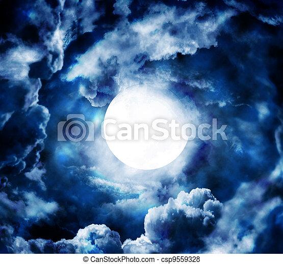 藍色的天空, 月亮 - csp9559328